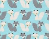 Fox Fabric, Fabric by the Yard, Boy fabric, Woodland Pals fabric  by Ann Kelle for Robert Kaufman, Fox in Aqua