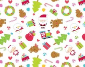 SALE fabric, Christmas Fabric, Cotton Fabric, Santa Fabric, by Riley Blake- Santa Express Main in White. You Choose the Cut