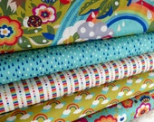 Japanese fabric, Cotton Fabric by the Yard, Momo Flying Colors, Rainbow Fabric, Bird Fabric, Tree fabric, Moda Fabric, Fabric bundle of 7