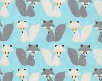 Fox Fabric, Fabric by the Yard, Boy fabric, Blue fabric, Woodland Pals fabric  by Ann Kelle for Robert Kaufman, Fox in Aqua