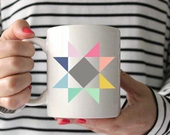 Quilt Mug, Barn Quilt Mug, Coffee Mug, Gift for Quilter, Gift for Her, Coffee Cup, Unique Mug, Quilt Swap Gift, Cute coffee mug, SALE