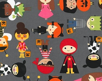Halloween fabric, Halloween Costume, Halloween Kids by Ann Kelle for Robert Kaufman, Gray fabric, Halloween Kids in Gray, Choose your cut