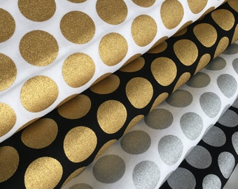 Metallic fabric bundle, Gold Polka Dots, Silver Polka Dots, Spot On, Christmas, Fabric Bundle of 4- You Choose the Cut
