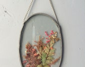 VINTAGE...pressed flowers in glass window panel oval sun catcher boho ~ glass display still life ~ in box gift