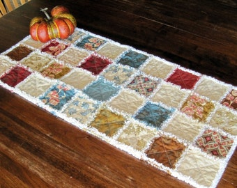 Rag quilted table runner for fall. Hope Chest by Laundry Basket Quilts for Moda.  With unbleached muslin.