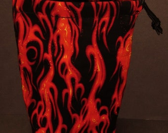 Red Flames Cloth Drawstring Dice Bag for Dice Masters/D&D/X-Wing/Pathfinder/RPG
