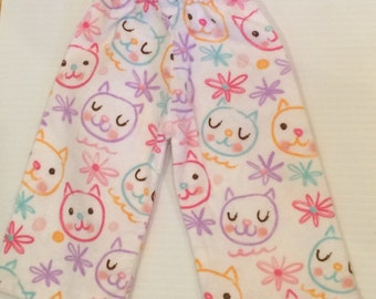 Cute kitty cat Pajama PJ cozy flannel American doll pants, 18 inch girl doll clothes, 18 inch doll pants Doll cat pants, Kitty pajama pants