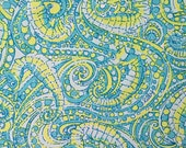"lilly pulitzer's spring 2016 seahorse dobby cotton fabric square 18""x18"""