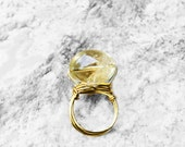 Citrine Stone Ring, Natural Stone Ring, Wire Wrapped Ring, Statement Ring, Wire Ring, For Her, Drips of Honey Lemon Citrine Stone Ring