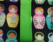 Matryoshka Russian Nesting Dolls on Black Background w/ Lime Green Ribbon Tarot Card/Oracle Pouch with Quartz Crystal Reiki Charged