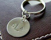 Custom Keychain - Personalized Hand Stamped Sterling Silver - Mini Key Chain - Perfect Gift for Father's day
