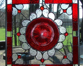 stained glass  panel window plate Ruby Tribute  Avon Cape Cod