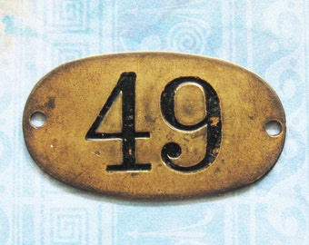 Rustic Brass Tag Number 49 Industrial Antique Vintage PO Box Painted Numbered Victorian ID Plate Jewelry Locker Basket Hardware
