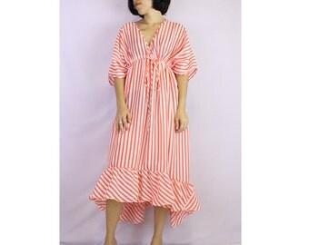 CuteV-Neck boho summer smock maxi dress S-L (TU 3)