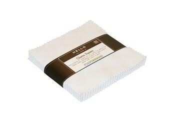 "Robert Kaufman Kona Cotton Solids WHITE Precut 5"" Charm Pack Fabric Quilting Cotton Squares CHS-120-42"