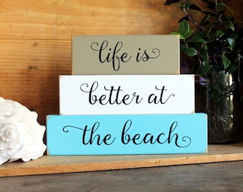 Life is Better at the Beach Shelf Sitter Blocks Sign Beach Cottage Stacking Blocks Coastal Decor