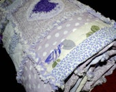 "Handmade Cottage Chic Rag Quilt ""Lavender Fields"""