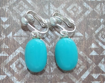 Blue Clip On Earrings, Dangle Clip Earrings, Aqua Blue Earring Jewelry, Ready to Ship, Gift Under 20 - Kelsey  - -6