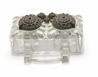 Antique Inkwell, Tatum, Home Decor, Home and Living, Ink well, Vintage inkwell, glass inkwell, Antiques, glass inkstand, Desk accessories