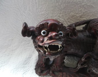 Antique Chinese Finely Carved Rosewood Mother Foo Dog & Pup Playing with Ball