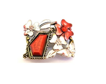 BEAD, metal jewel bead  with red trim and rhinestones with flowers retro vintage style