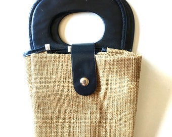 Vintage wicker burlap straw tote bag grocery bag vinyl purse handles
