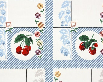 1940's Vintage Wallpaper - Red Cherry and Raspberry Bright Plaid Flowers and Blue Leaves