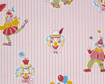 1960s Vintage Wallpaper by the Yard - Pink Pin Stripe with Colorful Clowns