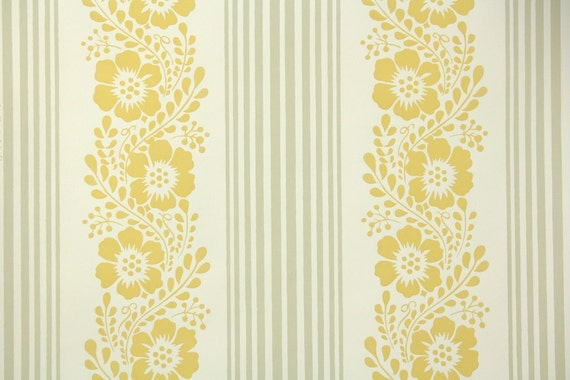 1950's Vintage Wallpaper - Floral Wallpaper with Yellow Flowers and Stripes on White