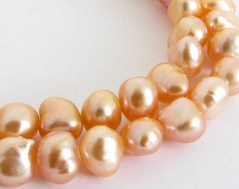 20% OFF - 8mm Peach Freshwater Pearl Strand, Freshwater Pearls, 8 Inch Strand, Half Strand, Genuine Freshwater Pearls Pearl203