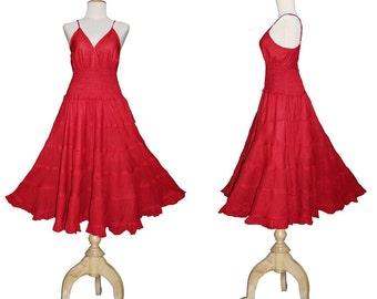 Long Red GYPSY PRINCESS Smock Maxi Dress Hippie Boho Plus Size 26 28 30 4x 5x Cotton Gothic