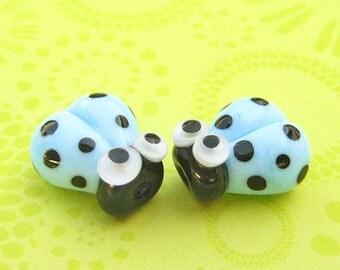 2 Glass Ladybug Beads - Lampwork Ladybug Beads - Glass Ladybugs - Blue Ladybugs - 14mm Beads - DIY Jewelry - SRA Handmade - U
