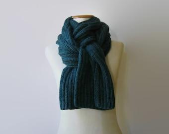 Dark Teal Green Wool, Long Scarf, Mens Scarf, Hand Knit Scarf, Cables Knit Scarf, Womens Scarves, Wrap Scarf, Shawl Scarf, Wool Scarf