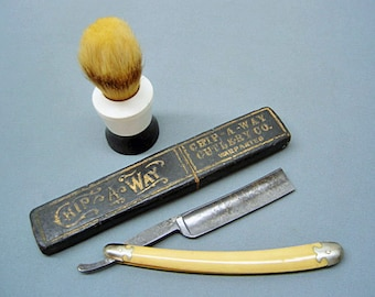 Antique Straight Razor F.A. Clauberg-Germany (1885-1926) & Shaving Brush-Made in England