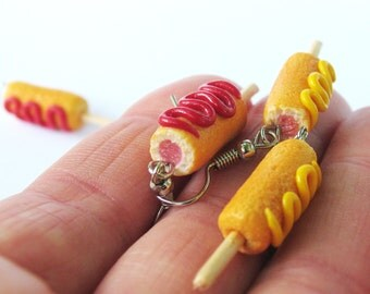 Corn Dog Earrings, Food Jewelry, Carnival Jewelry, Corn Dog, Hot Dog Earrings