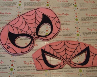 Pink Spiderman Girl inspired felt mask for dress up or Halloween Costume Pretend Play Imagination Education party favor