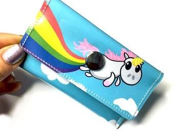 Unicorn Rainbow Card Holder Snap Wallet