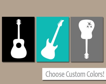 GUITAR Wall Art, Music Theme Nursery, Big Boy Bedroom Pictures, CANVAS Or  Prints