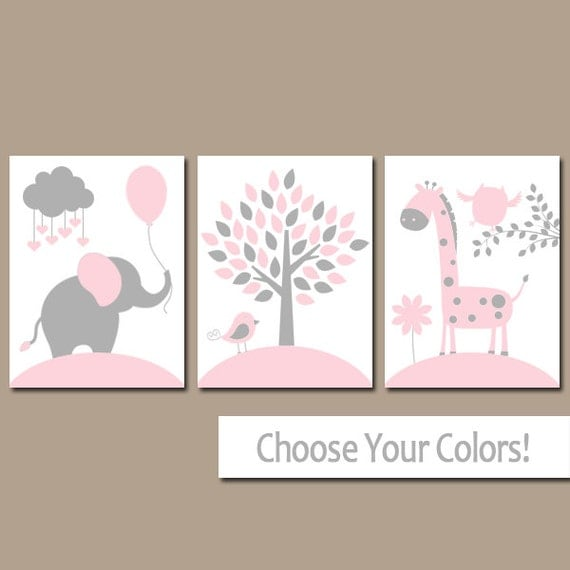 Pink gray nursery wall art canvas or prints girl jungle for Baby girl nursery paintings