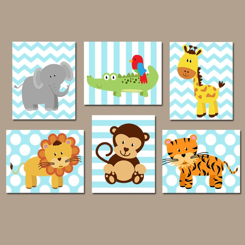 Safari Nursery Decor Jungle Theme Nursery Nursery Artwork: Baby Boy Nursery Wall Art JUNGLE Animals Wall Art CANVAS Or