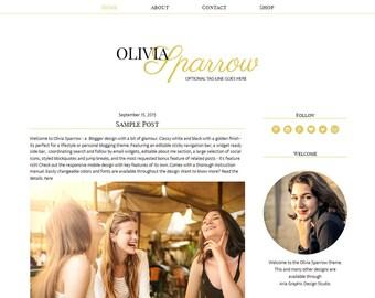 "Responsive Blogger Template /  Premade Blog Design - ""Olivia Sparrow"" Black Gold"