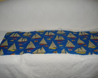 Lovely Blue Nautical Vintage Fabric Remnant, Beach, Sailboats, Seaside, Sewing, Crafts
