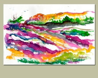Abstract Watercolor Landscape Lavender Fields