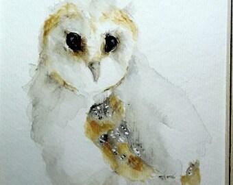 Baby Bird watercolor painting original nursery art Barn Owl