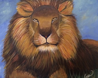 """Lion 12""""x12"""" canvas"""