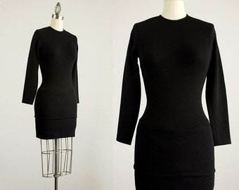90s Vintage Donna Karan Black Stretch Knit Bodycon Mini Dress / Leotard Dress / Size Extra Small / Small