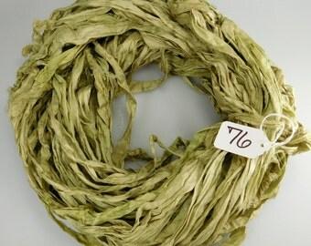 Silk Sari Ribbon, Sari silk ribbon, recycled ribbon, green sari ribbon