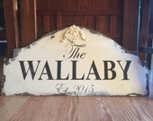 Personalized cottage RUSTIC wood sign
