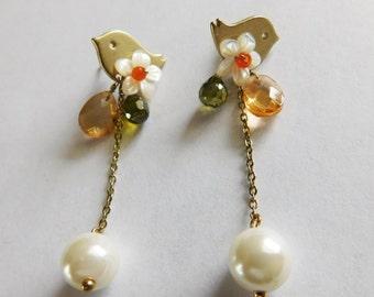 Vintage Bird Pearl Beaded Earrings Pierced Dangle Earrings