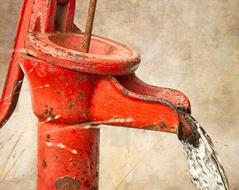 Water Pump Photograph, Bathroom Wall Art, Kitchen Decor, Retro, Rustic, Vintage, Antique, Red, Laundry Room Decor - Weathered No. 2